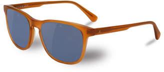 Vuarnet District Square Polarized Sunglasses, Red Amber/Blue
