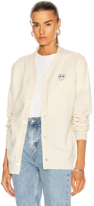 Comme des Garcons White Heart Cardigan in Natural | FWRD