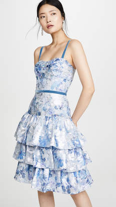 Marchesa Sleeveless Metallic Dress