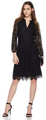 Suite Alice Women's Long Sleeve V Cut Front Lace Dress