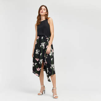 Warehouse Lily Print Wrap Midi Skirt