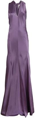 Alberta Ferretti Long Flared Halter-neck Dress