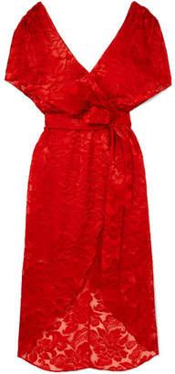 Alice + Olivia Alice Olivia - Darva Wrap-effect Fil Coupé Chiffon Midi Dress - Red