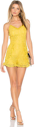 J.O.A. Frill Bottom Detail Lace Romper in Yellow $92 thestylecure.com