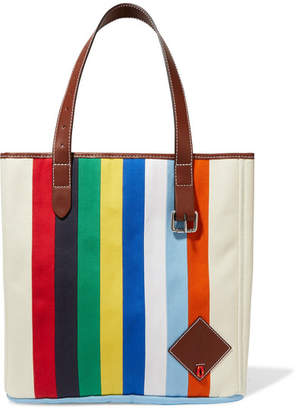 J.W.Anderson Belt Leather-trimmed Striped Canvas Tote - Blue