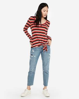 Express One Eleven Stripe V-Neck Side Tie Slim Tee