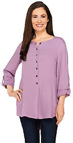 LOGO by Lori Goldstein Button Front Twill Topw/ Roll Sleeves