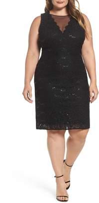 Morgan & Co. Sequin Lace & Mesh Body-Con Dress