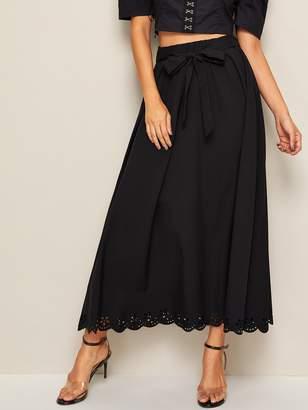 Shein Eyelet Embroidered Hem Belted Maxi Dress