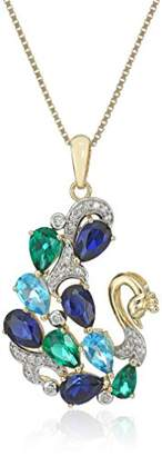 18k Gold Plated Sterling Silver Genuine Blue Topaz with Created Blue Sapphire and Emerald Peacock Pendant