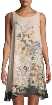 Max Studio Floral-Print Chiffon Trapeze Dress