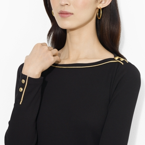 Ralph Lauren Ribbed Metallic-Trim Boatneck