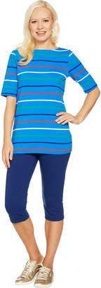 Denim & Co. Active Striped Knit Top and Capri Pants Set