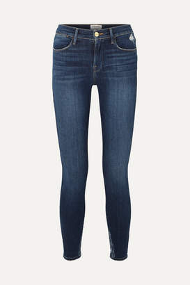 Frame Le High Distressed Skinny Jeans - Mid denim