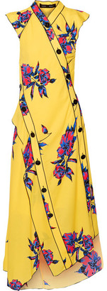 Proenza Schouler - Asymmetric Floral-print Silk-crepe Dress - Marigold $1,550 thestylecure.com