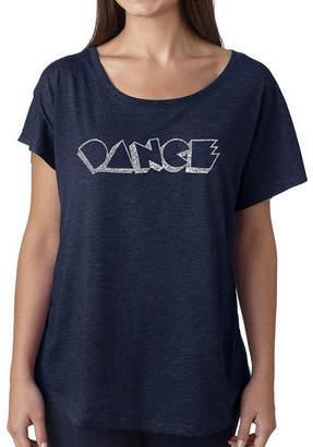 LOS ANGELES POP ART Los Angeles Pop Art Women's Loose Fit Dolman Cut Word Art Shirt - DIFFERENT STYLES OF DANCE
