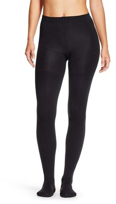Xhilaration Women's Fleece Lined Tights Black Ribbed - Xhilaration $10 thestylecure.com