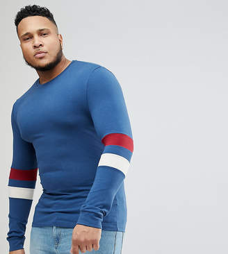 Asos DESIGN Plus muscle fit Long Sleeve T-Shirt With Contrast Sleeve Panels
