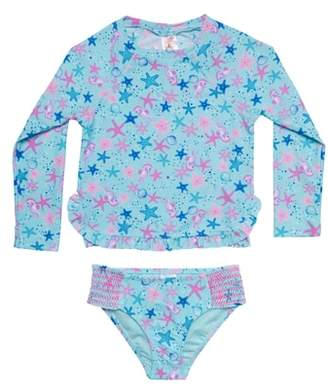 Hula Star Seahorse Bubbles Two-Piece Rashguard Swimsuit