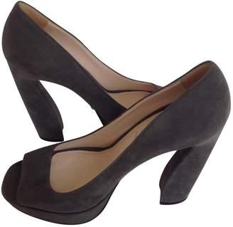 Prada Grey Velvet Heels