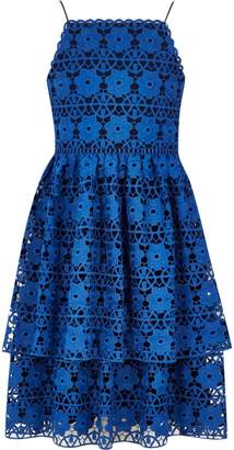 River Island Girls Blue tiered lace floral dress
