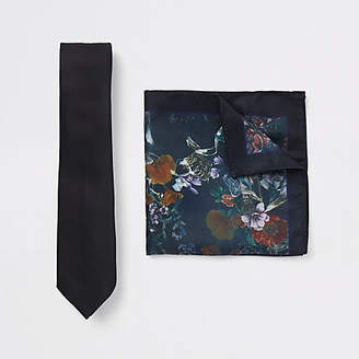 River Island Black tie and floral pocket square set