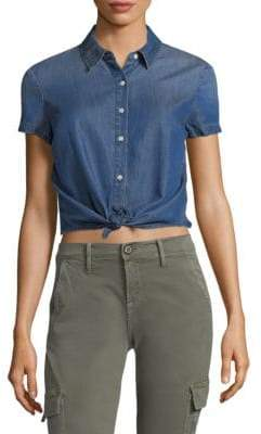 Frame Cropped Short-Sleeve Top