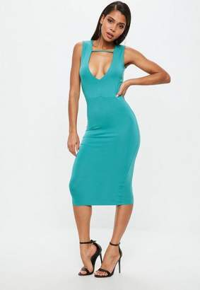 Missguided Teal Midi Bodycon Dress
