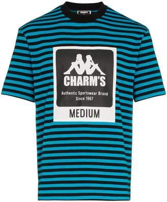 Charm's X Kappa logo printed striped cotton-blend t-shirt
