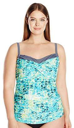 Free Country Women's Plus Size Waterfall Twist Front Tankini Top