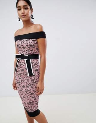 Vesper contrast lace pencil dress with bow detail