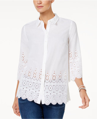 Charter Club Petite Lace-Edge Shirt, Only at Macy's $89.50 thestylecure.com