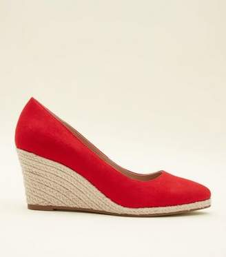 New Look Red Suedette Pointed Espadrille Wedges