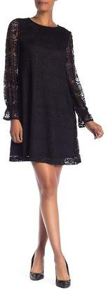 Nine West Long Sleeve Lace Knit Shift Dress