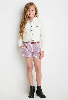 Forever 21 Girls Belted Stripe Shorts (Kids)