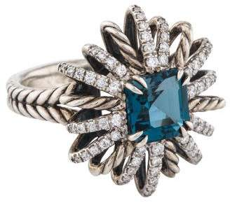 David Yurman Blue Topaz & Diamond Starburst Ring