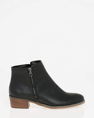 Le Château Leather-Like Round Toe Ankle Boot