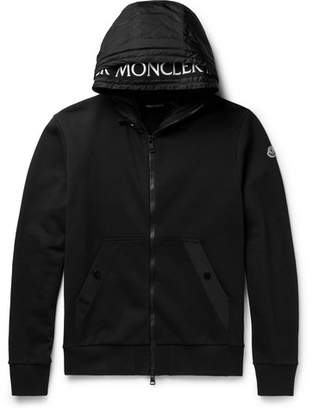 Moncler Shell-Trimmed Fleece-Back Cotton-Jersey Hoodie
