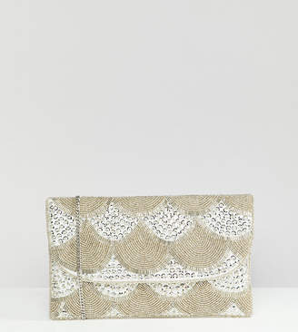 True Decadence silver embellished fold over clutch