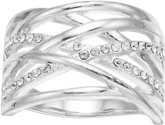 Brilliance+ Brilliance Silver Tone Swarovski Crystal Open Twine Ring
