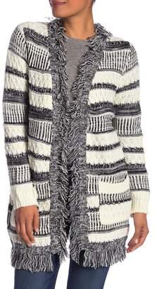 Papillon Stripe Knit Fringe Cardigan