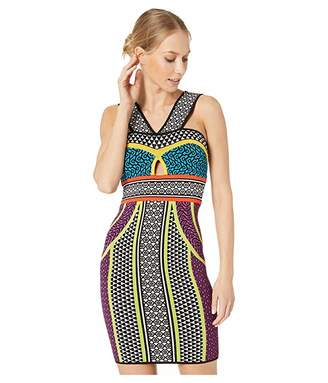 BCBGMAXAZRIA Printed Fitted Halter Dress