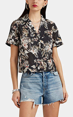 FiveSeventyFive Women's Tropical-Floral Ramie-Cotton Voile Crop Blouse