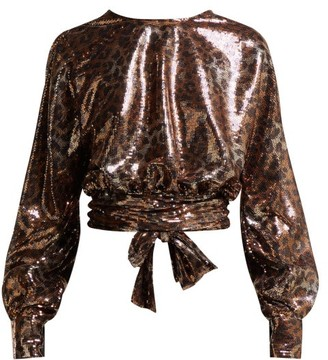 22ca0ee955a4b MSGM Leopard Print Sequinned Open Back Blouse - Womens - Black Gold