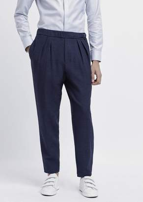 Emporio Armani Pants In Textured Jersey With Pleats And Side Strap