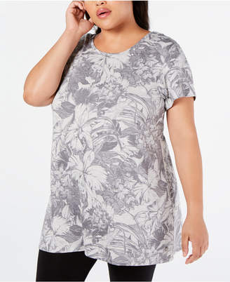 Ideology Plus Size Printed Cutout Tunic