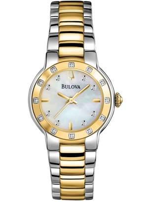 Bulova Women's Diamond Accented Two-Tone Bracelet Watch, 28mm - 0.10 ctw