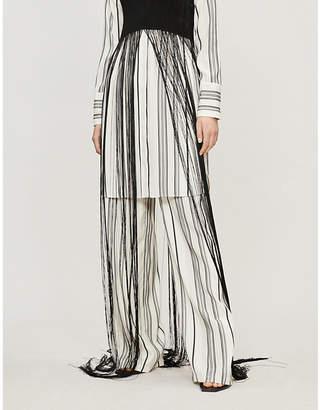Jil Sander Gianmarco striped high-rise wide-leg silk trousers
