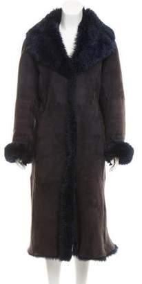 Donna Karan Long Shearling Coat