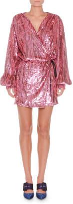 ATTICO Long-Sleeve Wrap Allover Sequin Mini Dress